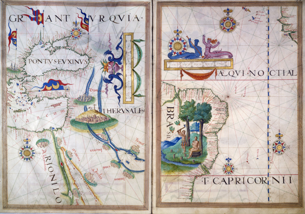 Stock Photo: 1095-1319 Portolan Atlas Illumination,  by Sebastiano Lopes,  Circa 1565