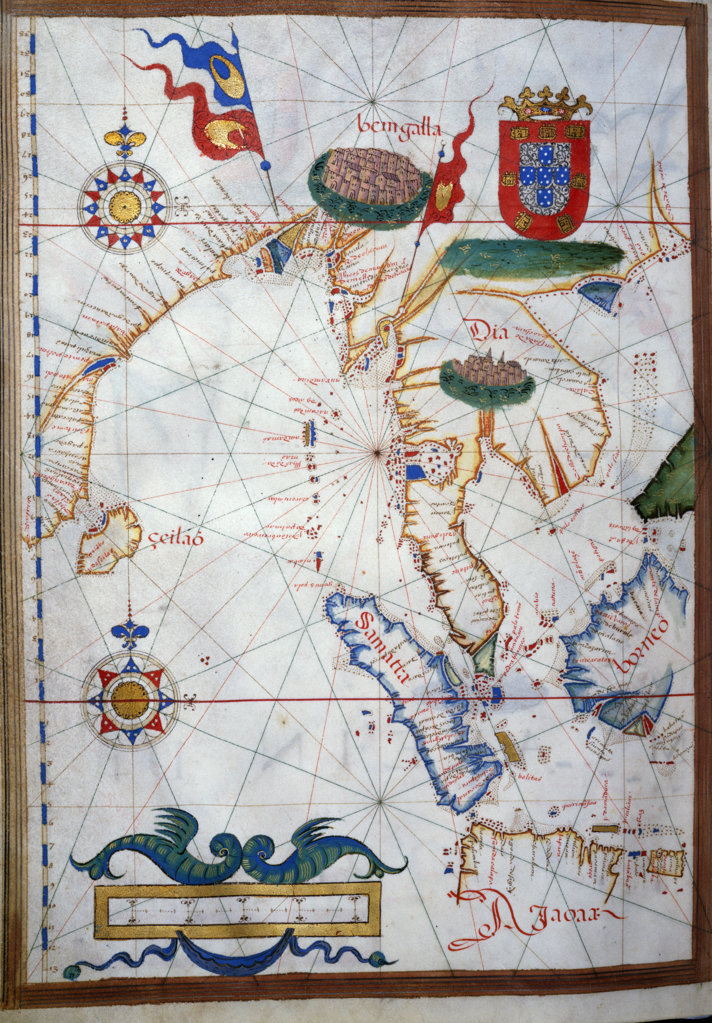 Portuguese Portolan Atlas by Sebastiano Lopes,  1546,  USA,  Chicago,  Newberry Library : Stock Photo
