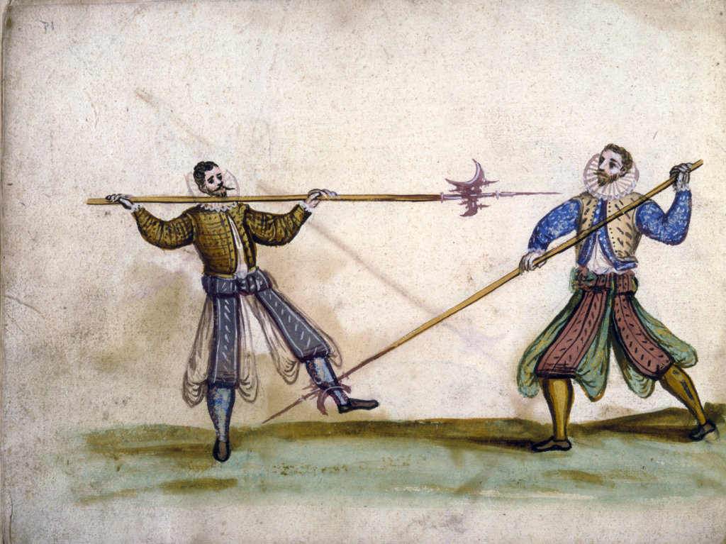 Stock Photo: 1095-137 The Art of Fencing,  manuscript,  1595,  USA,  Chicago,  Newberry Library