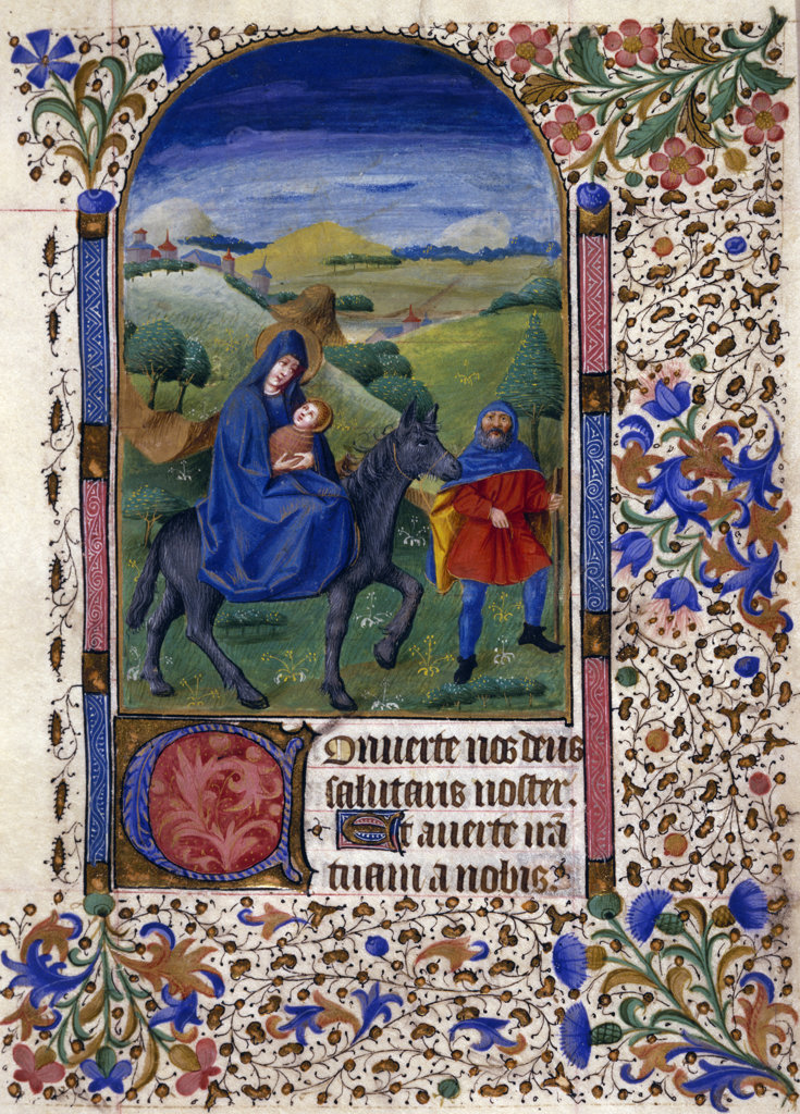 Flight into Egypt from Book of Hours,  manuscript,  USA,  Chicago,  Newberry Library : Stock Photo