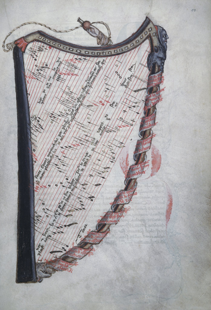 Stock Photo: 1095-158 La Harpe de Melodie- Detail Manuscripts Newberry Library Chicago