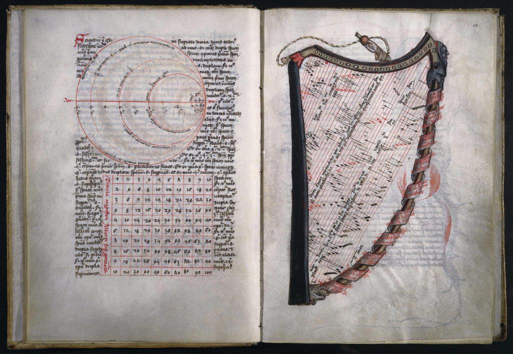 Stock Photo: 1095-159 La Harpe de Melodie  Manuscripts Newberry Library Chicago