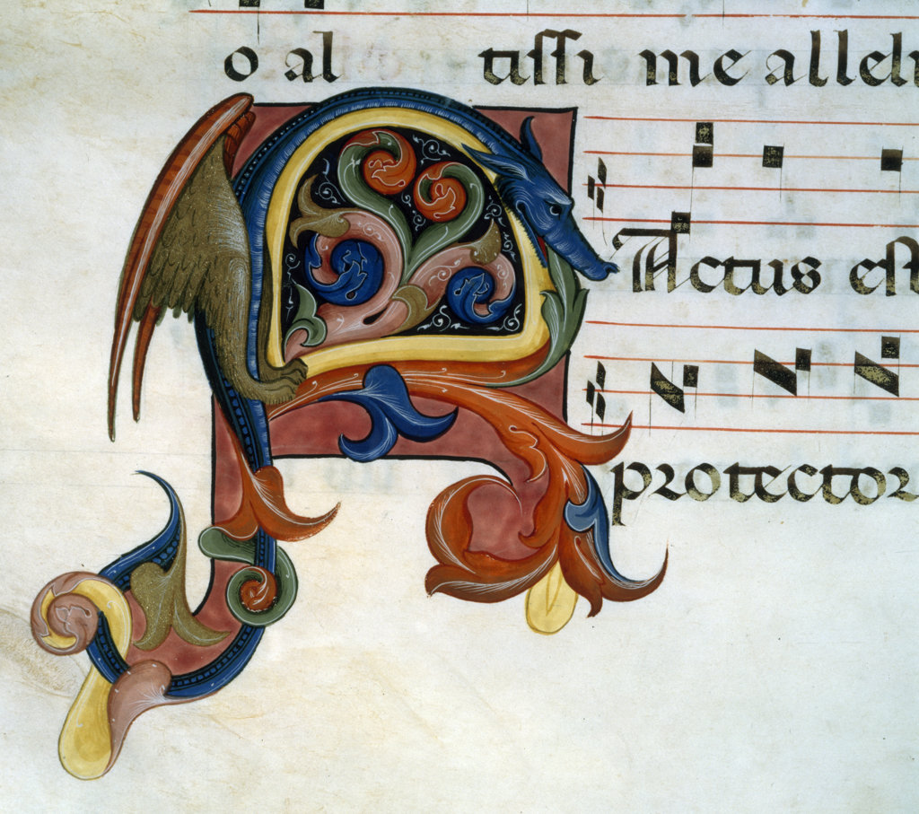 Gradual Illumination - dragon,  manuscript,  USA,  Chicago,  Newberry Library : Stock Photo