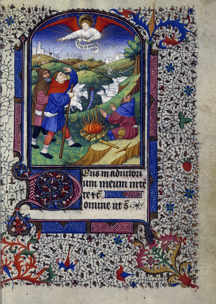Shepherds in the Fields,  Catholic Church Liturgy and Ritual Manuscript,  USA,  Chicago,  Newberry Library : Stock Photo