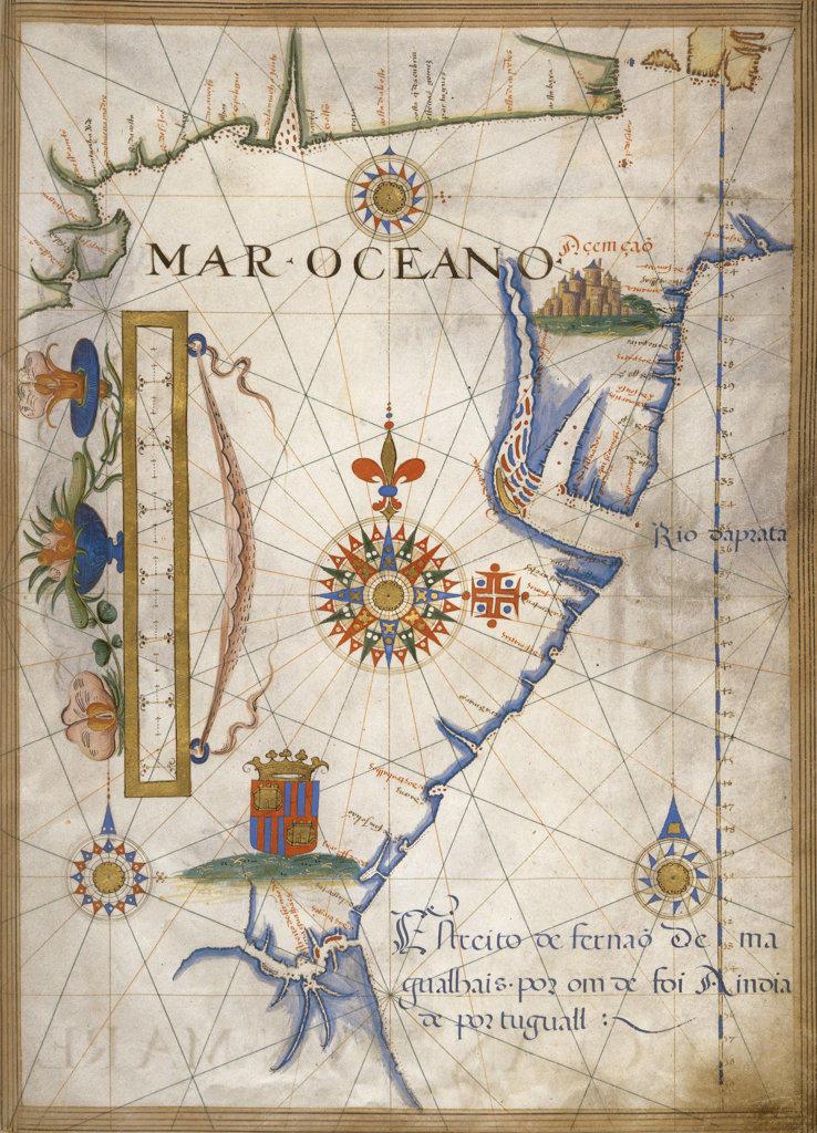 Stock Photo: 1095-165 Mar Oceano - Portolan Atlas Illumination Lopes, Sebastiano 16th C. Newberry Library, Chicago