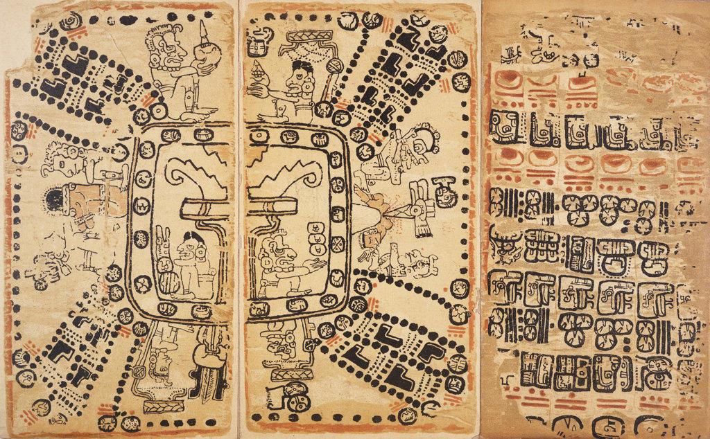 Stock Photo: 1095-171 Codex Cortesianus Codice Maya Denominado Cortesiano Mexican Art Newberry Library, Chicago