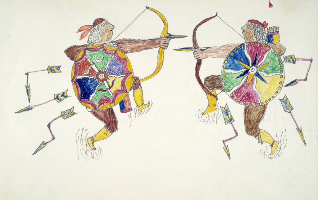 Apache Indian Drawings,  USA,  Chicago,  Newberry Library : Stock Photo