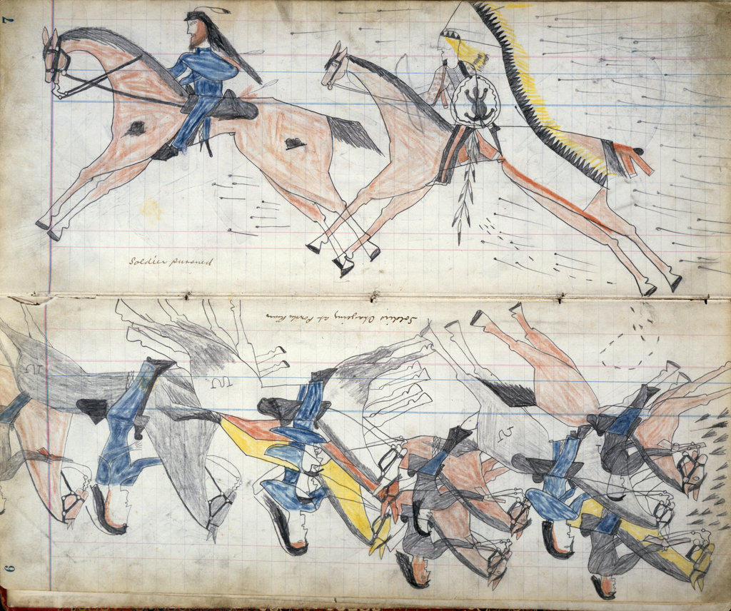 Soldiers Charging at Powder River and Soldiers Pursued - From a Cheyenne Indian Ledger Native American Newberry Library, Chicago  : Stock Photo