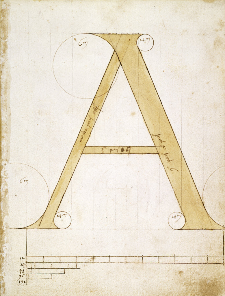 Letter A - Alphabet: Forms and Proportions of Roman Capital Letters,  manuscript,  USA,  Chicago,  Newberry Library : Stock Photo