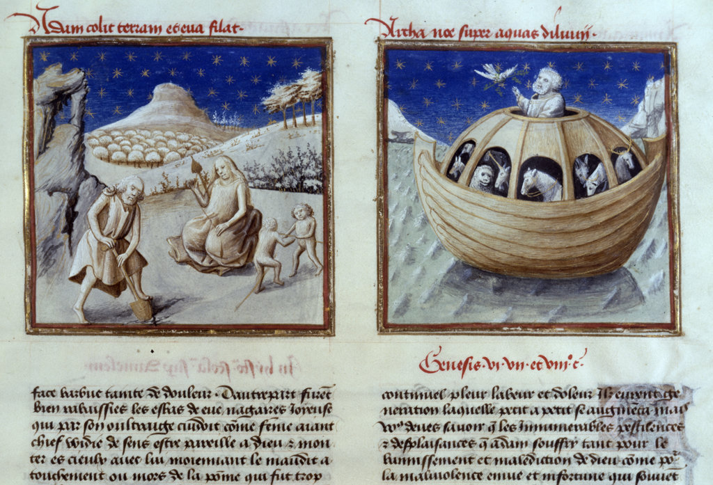 Noah's Ark and Noah's Family on Land,  manuscript,  USA,  Chicago,  Newberry Library : Stock Photo