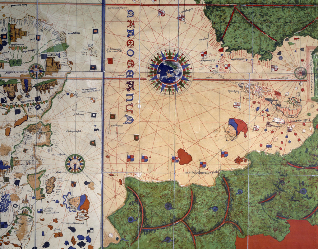 Stock Photo: 1095-215 Detail of Center Section from World Map by Juan de la Cosa,  USA,  Chicago,  Newberry Library