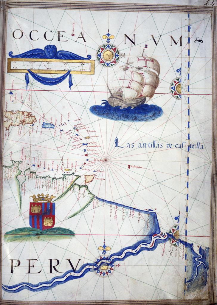 Stock Photo: 1095-221 Portolan Atlas Illumination by Sebastiano Lopes,  1546,  USA,  Chicago,  Newberry Library