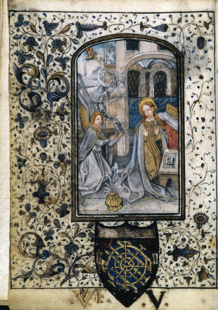 Stock Photo: 1095-227 Annunciation,  manuscript,  USA,  Chicago,  Newberry Library
