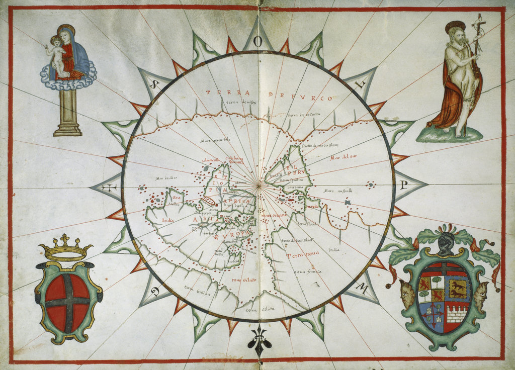 Stock Photo: 1095-251 A Chart of the World Enclosed within a Large Windrose
