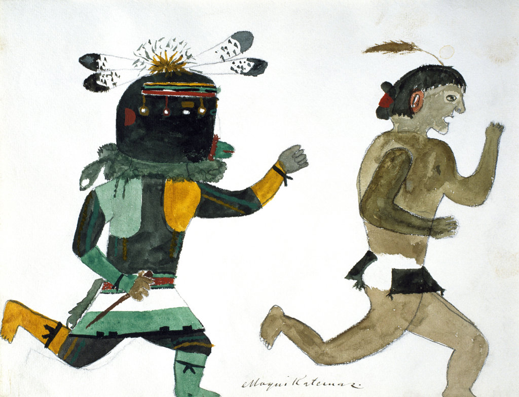 Hopi Kachinas - Man with Feathered Helmet Chasing Man with Single Feather and Loin Cloth 