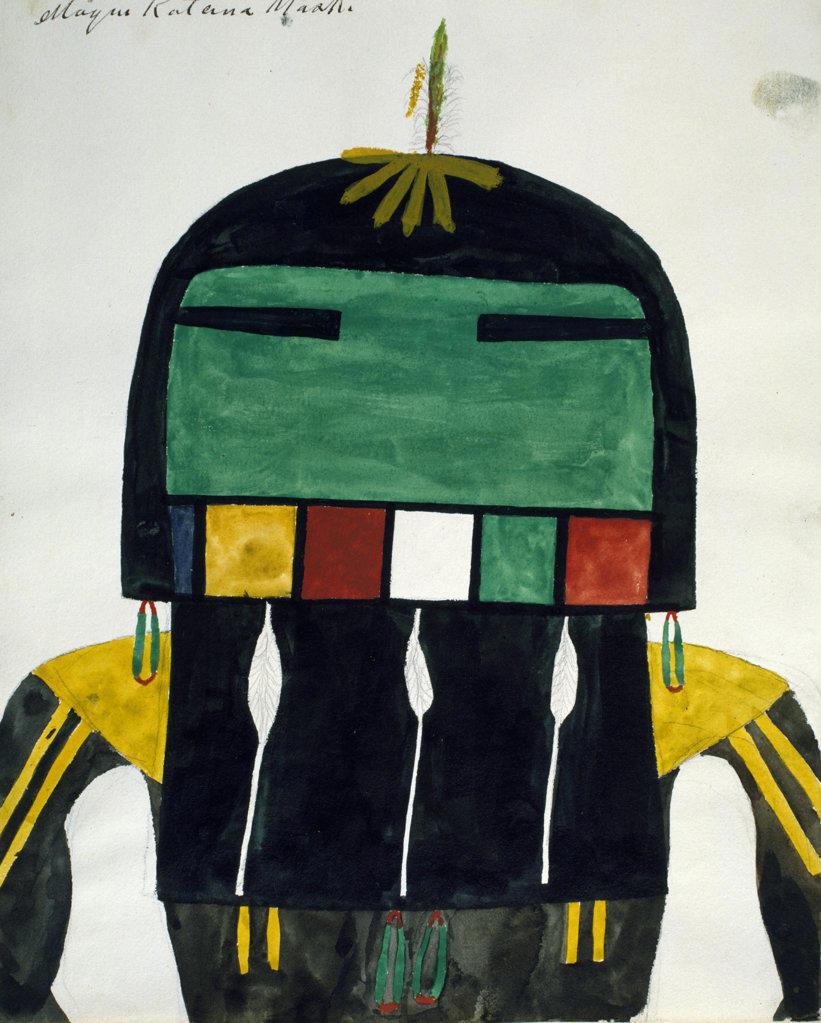 Hopi Kachinas - abstract figure,  circa 1905,  USA,  Chicago,  Newberry Library : Stock Photo