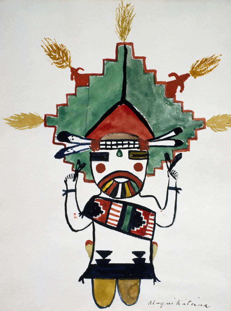 Stock Photo: 1095-263 Hopi Kachinas - Small Figure Kneeling, Wearing Large Headdress 