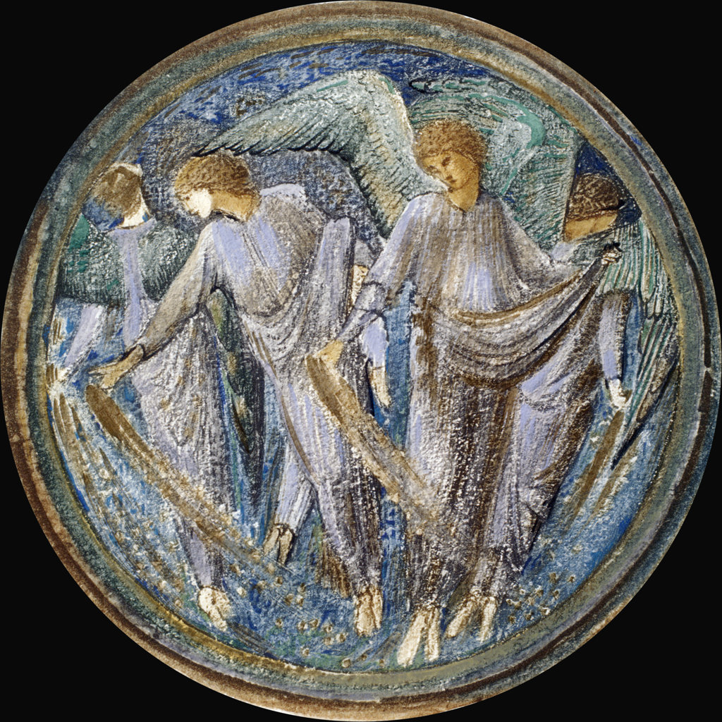 Stock Photo: 1095-283 Scattered Starwort,  Angels Casting Stars Through the Sky Like Seed by Edward Burne-Jones from The Flower Book,  1905,  (1833-1898),  USA,  Chicago,  Newberry Library