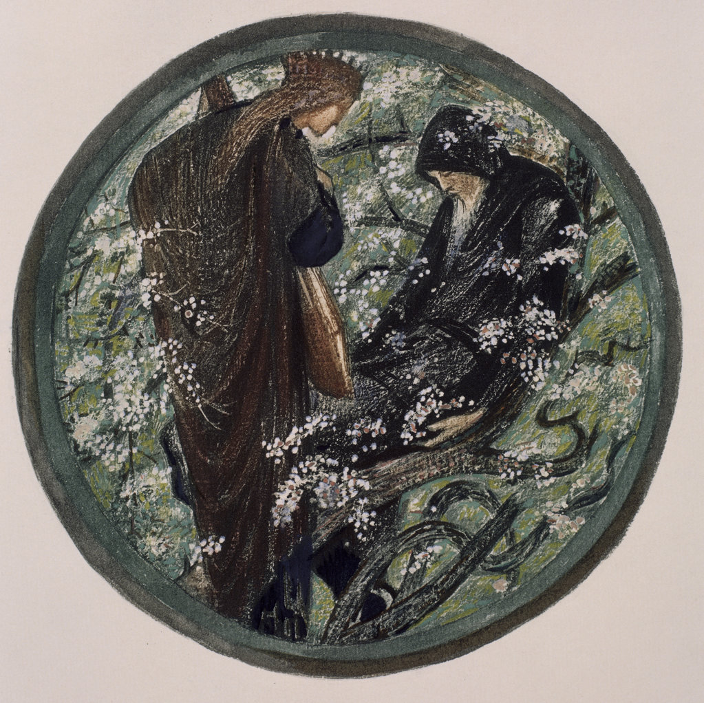 Stock Photo: 1095-287 Witches Tree.  Nimue Beguiling Merlin With Enchantment 