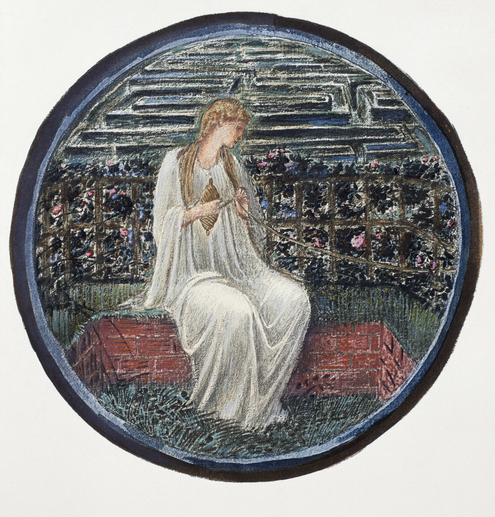 "Stock Photo: 1095-295 Love In A Tangle.  Fair Rosamond In Her Labyrinth. From ""The Flower Book""