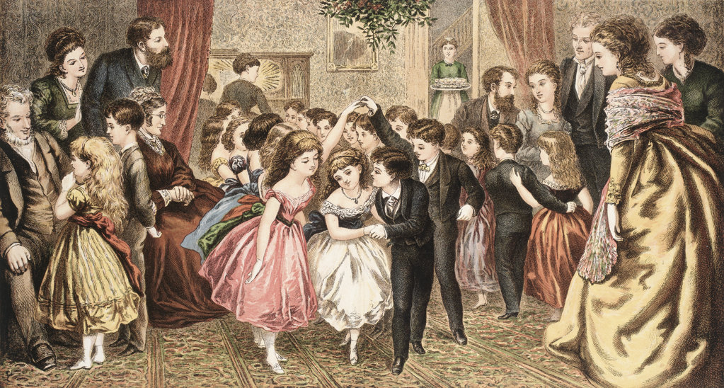 Home for the Holidays From Aunt Louisa's Holiday Guests by Kronheim (19th c.) : Stock Photo