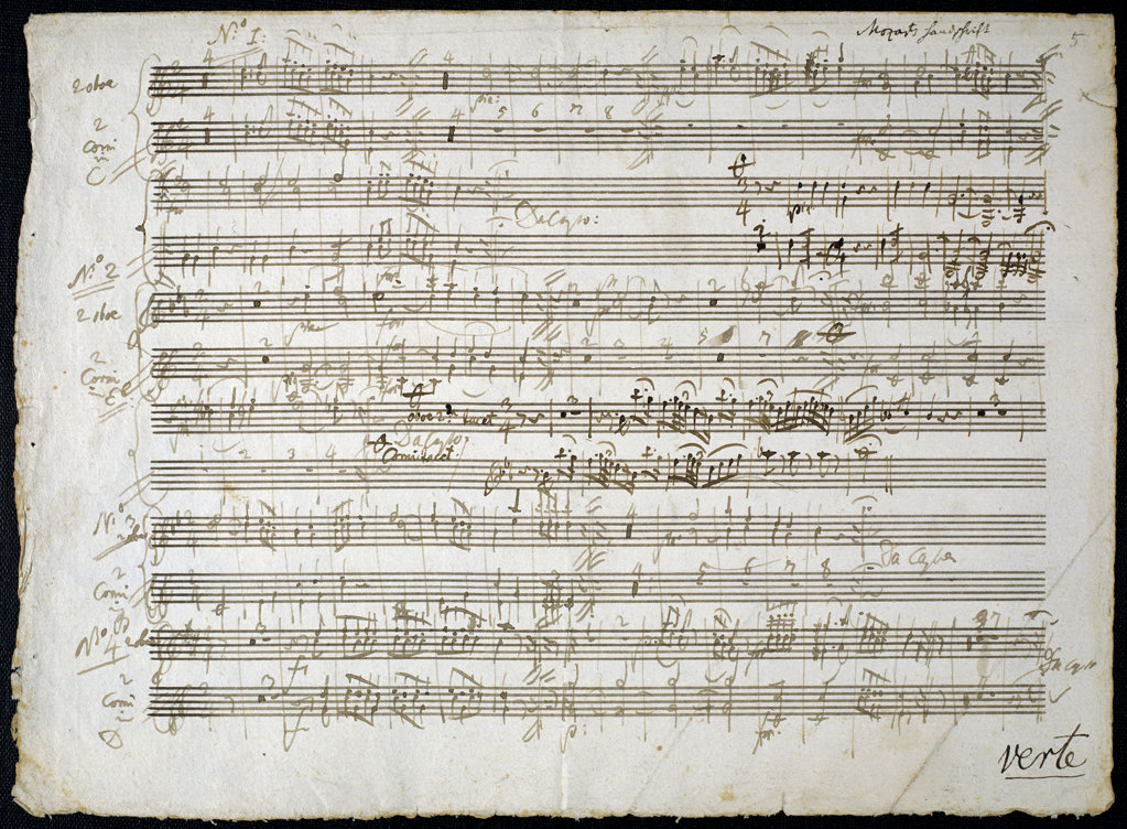 Stock Photo: 1095-308 Sheet Music by Mozart: Six Contre Dances - Two Oboe and Horn Parts  1784  Newberry Library, Chicago, Illinois, USA