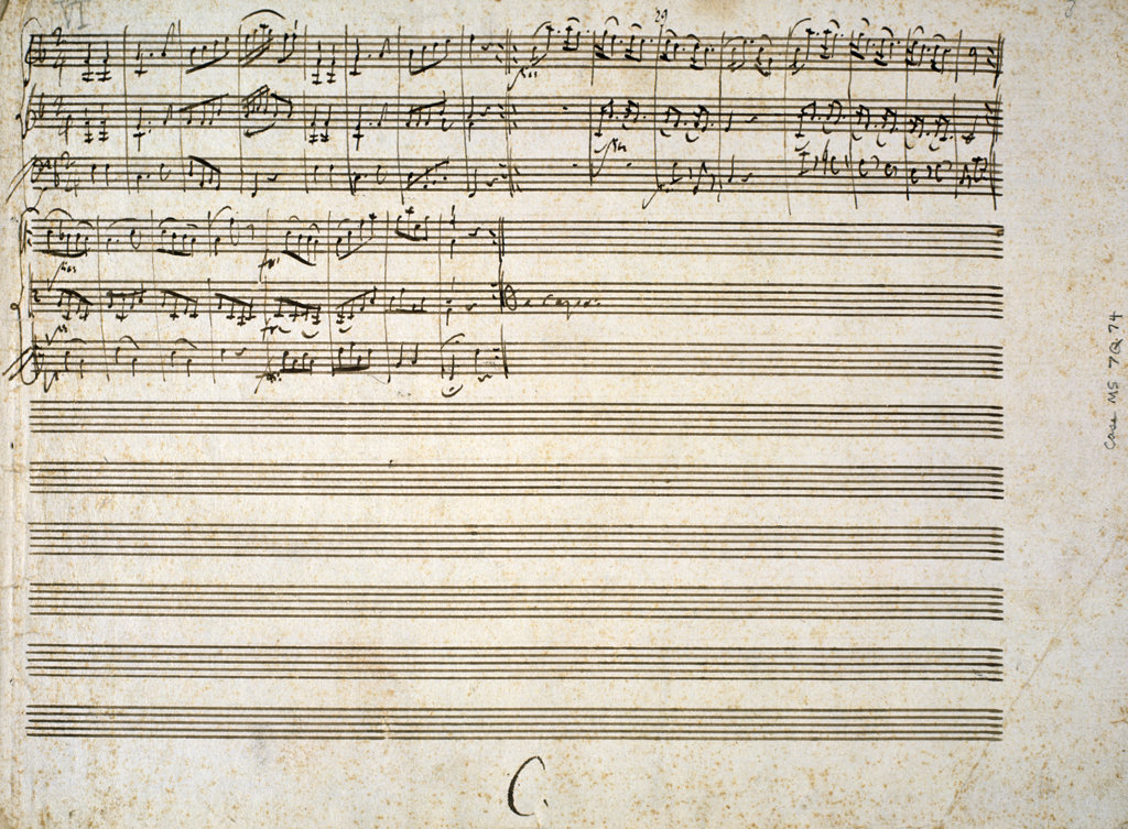 Stock Photo: 1095-312 Six Contre Danses,  for Two Violins and Bass,  by Wolfgang Amadeus Mozart,  (1756-1791),  USA,  Illinois,  Chicago,  Newberry Library