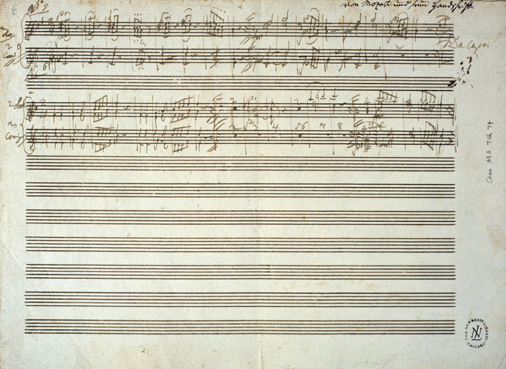 Stock Photo: 1095-313 Two Oboe and Two Horn Parts to Six Danses,  from Six Contre Danses,  by Wolfgang Amadeus Mozart,  (1756-1791),  USA,  Illinois,  Chicago,  Newberry Library