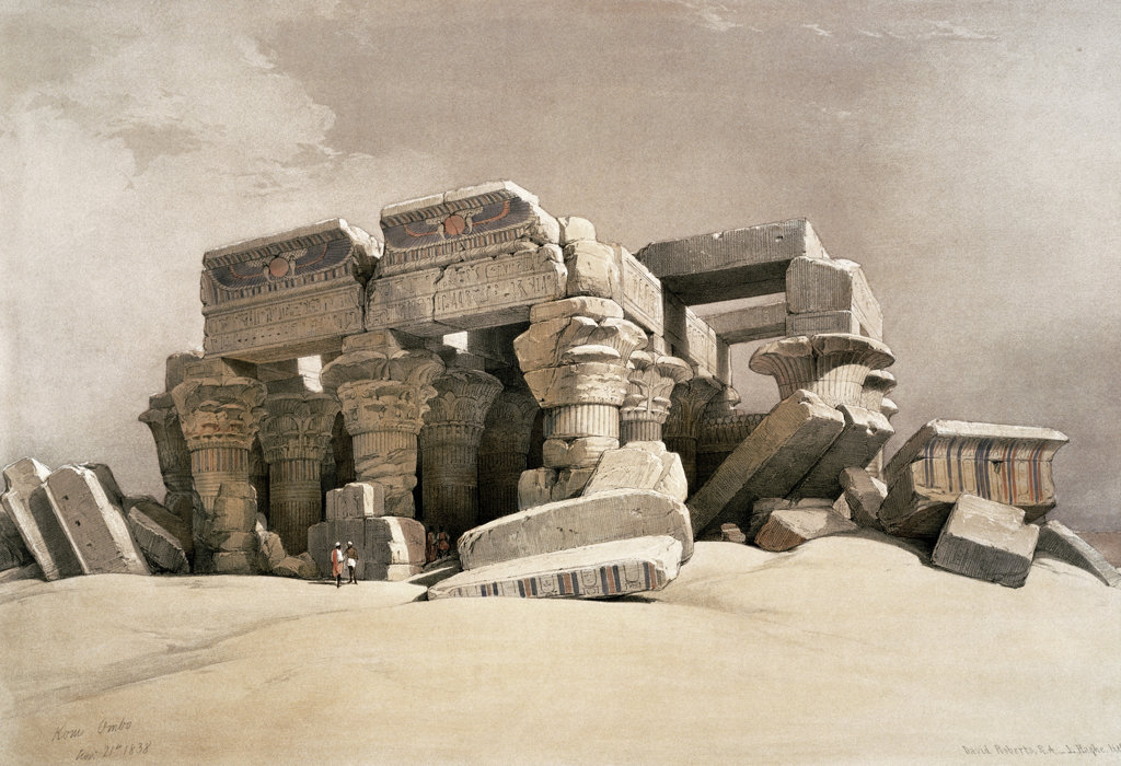 "Stock Photo: 1095-332 Ruins of the Temple of Kom-Ombo, Upper Egypt from ""Egypt and Nubia"" 1846-49 David Roberts (1796-1864 Scottish) Newberry Library, Chicago"