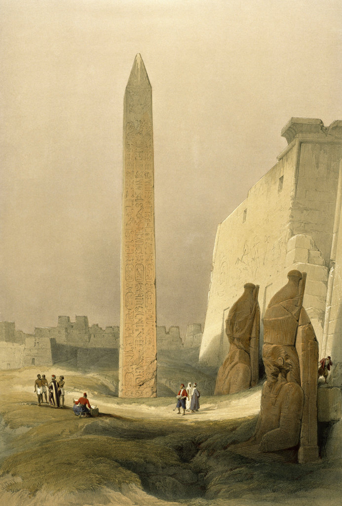 Obelisk at Luxor from Egypt and Nubia 1846-1849 David Roberts (1796-1864 Scottish) Newberry Library, Chicago : Stock Photo