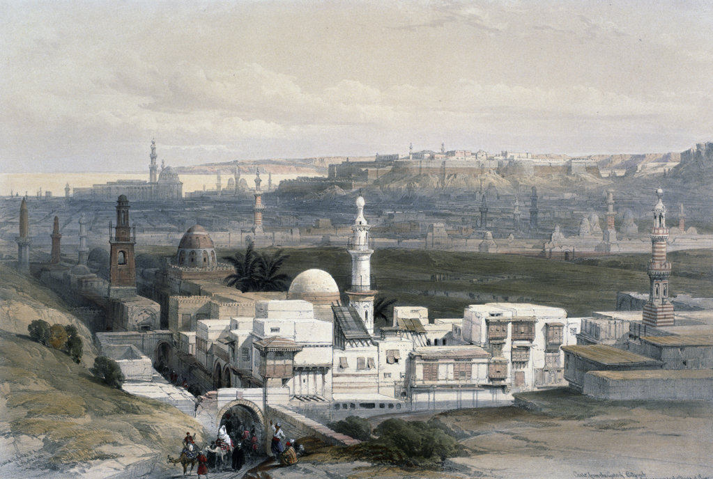 Cairo from Gate of Ctizenib,  towards Desert of Suez,  from Egypt and Nubia,  David Roberts,  1846-49,  (1796-1864),  USA,  Illinois,  Chicago,  Newberry Library : Stock Photo
