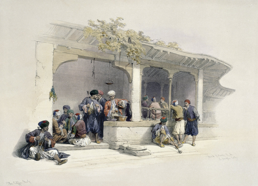 Coffee Shop of Cairo,  from Egypt and Nubia,  by David Roberts,  1846-49,  (1796-1864),  USA,  Illinois,  Chicago,  Newberry Library : Stock Photo