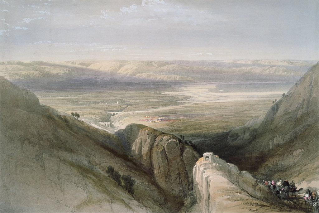 "Descent To The Valley Of Jordan From: ""Roberts Views Of The Holy Land"" 1839 David Roberts (1796-1864 Scottish) Newberry Library, Chicago, Illinois, USA : Stock Photo"