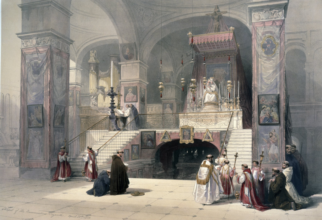 Stock Photo: 1095-403 Church of the Annunciation,  from Roberts views of the Holy Land,  by David Roberts,  (1796-1864),  USA,  Illinois,  Chicago,  Newberry Library