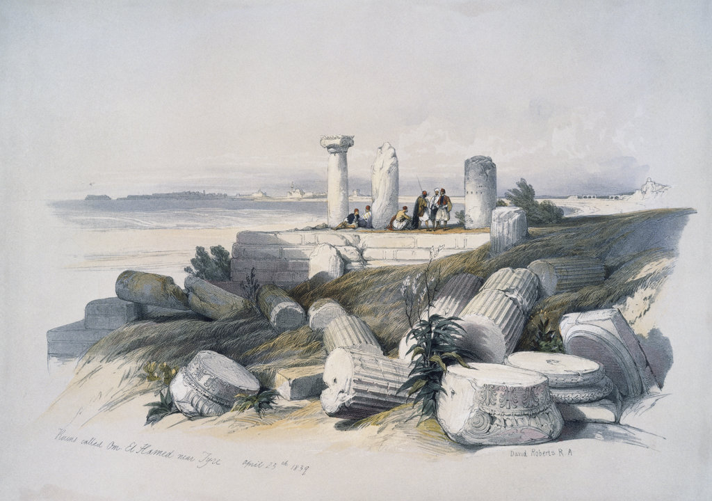 "Ruins Called Om El Hamed Near Tyre From: ""Roberts Views Of The Holy Land"" 1839 David Roberts (1796-1864 Scottish) Newberry Library, Chicago, Illinois, USA : Stock Photo"