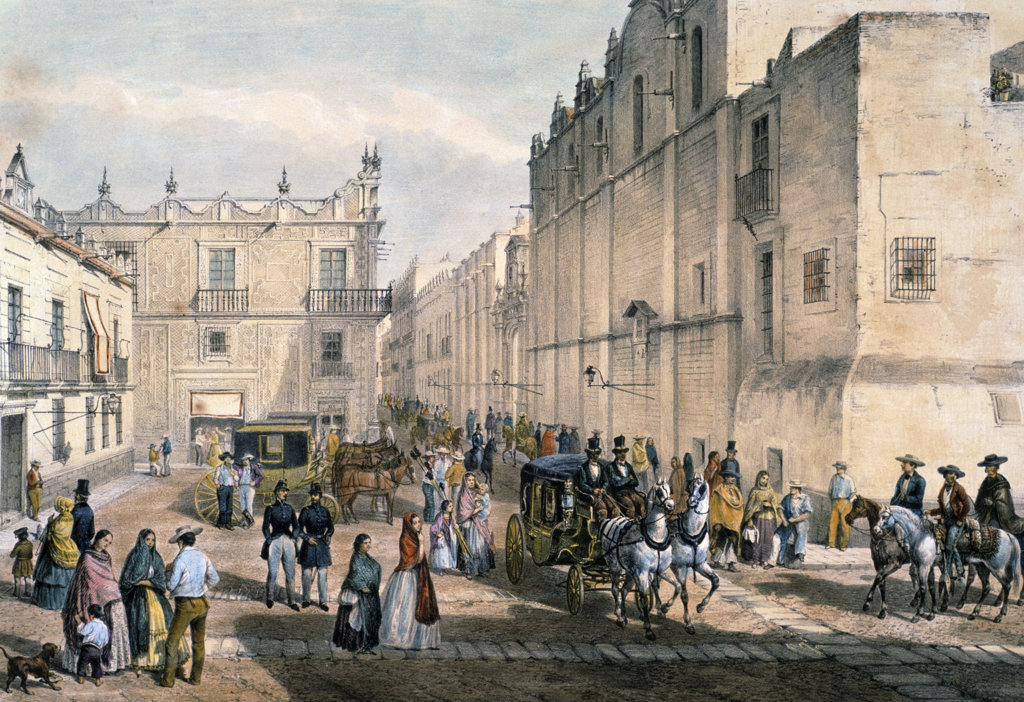 Stock Photo: 1095-424 Public Square Guardiola,  Corner of the Convent of San Francisco,  by Frederick Catherwood,  (1799-1854),  USA,  Illinois,  Chicago,  Newberry Library
