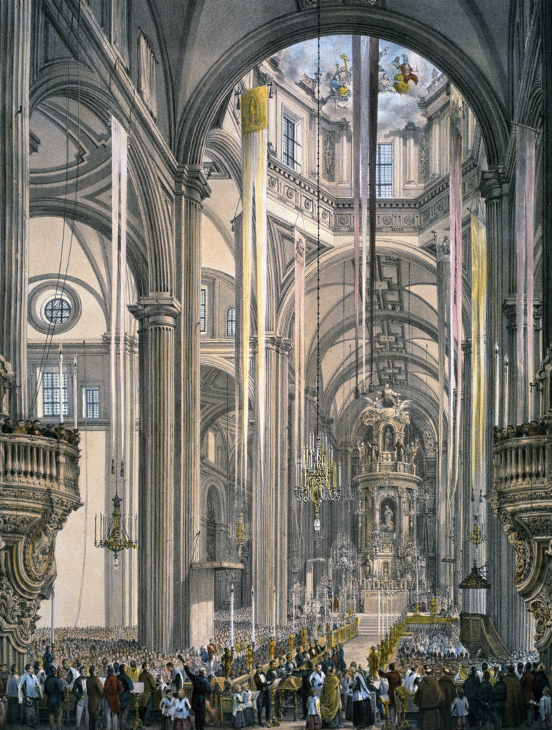 Stock Photo: 1095-430 Interior of the Cathedral of Mexico,  by Frederick Catherwood,  (1799-1854),  USA,  Illinois,  Chicago,  Newberry Library