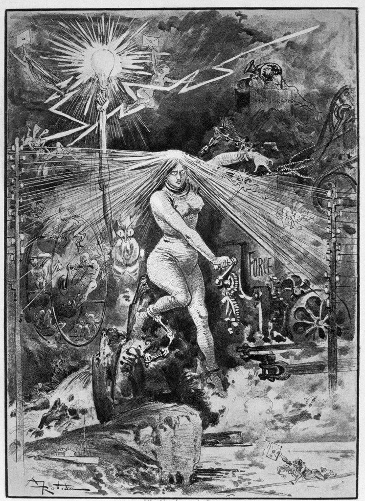 Electricity,  L'Electricity (La Grands Esclave) by Albert Robida,  (1848-1926),  Chicago,  Newberry Library : Stock Photo