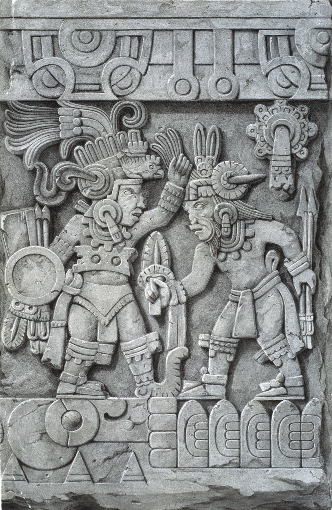 Stock Photo: 1095-463 Stone Of Tizoc-Detail Of Side Frieze 1825-c.1831 Johann Friedrich Waldeck (1766-1875 German) Illustration Newberry Library, Chicago, Illinois, USA