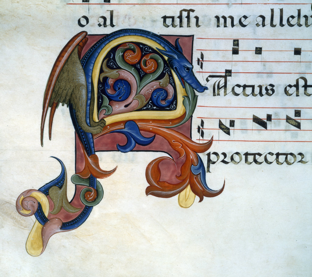 Stock Photo: 1095-485 Close up of illuminated manuscript with dragon,  Chicago,  Newberry Library
