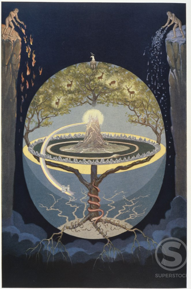 Stock Photo: 1095-546 Illustration from Rosicrucian Symbolical Philosophy depicting Yggdrasil Tree the World Tree by J. August Knapp, 1928