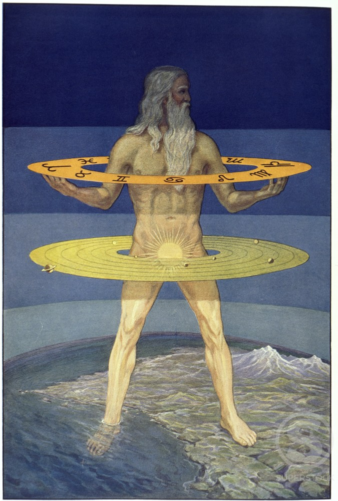 Illustration from Rosicrucian Symbolical Philosophy depicting Grand Man of Zohar, by J. August Knapp, 1928 : Stock Photo