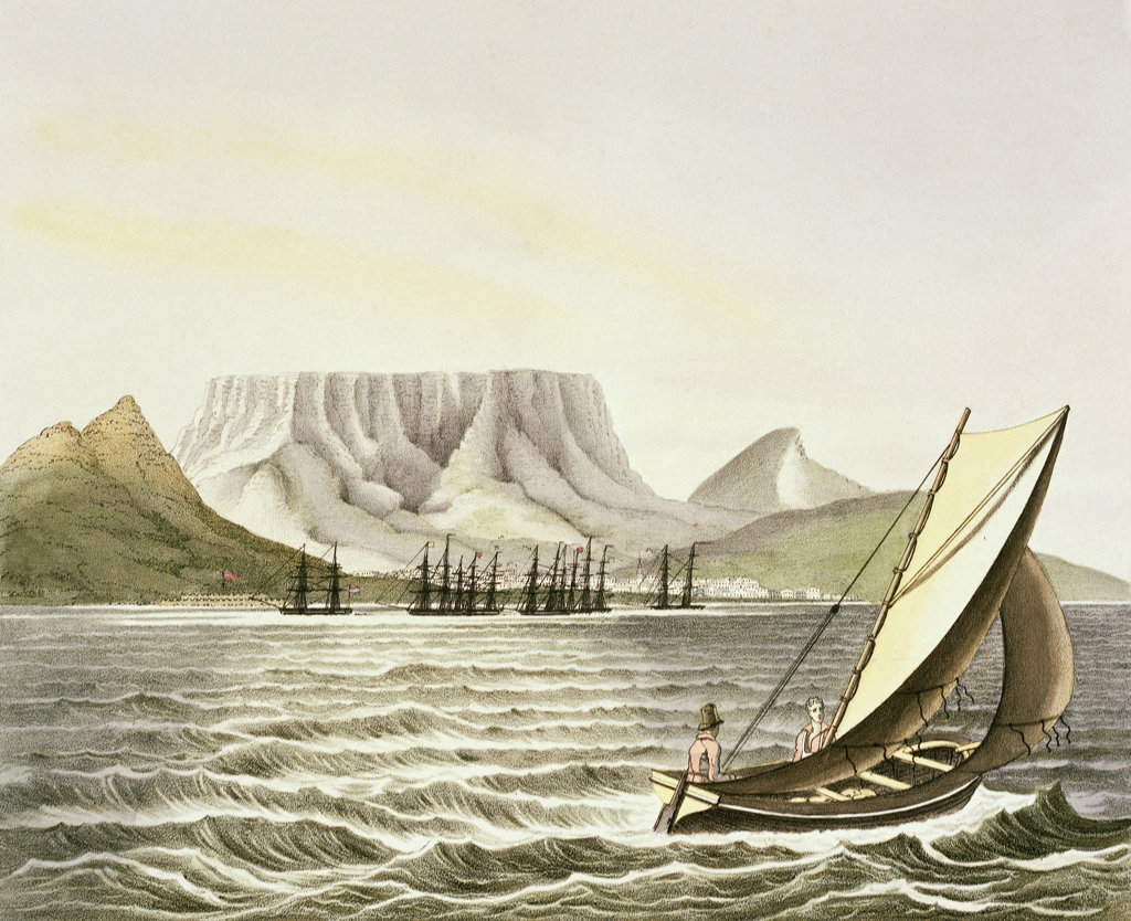 Stock Photo: 1095-558 View Of The City Of The Cape Of Good Hope 1826 Luis Choris (1795-1828 Russian) Illustration Newberry Library, Chicago, Illinois, USA