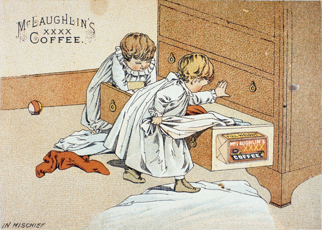 Stock Photo: 1095-571 McLaughlin's Coffee,  Trade Cards,  USA,  Illinois,  Chicago,  Newberry Library,  19th Century