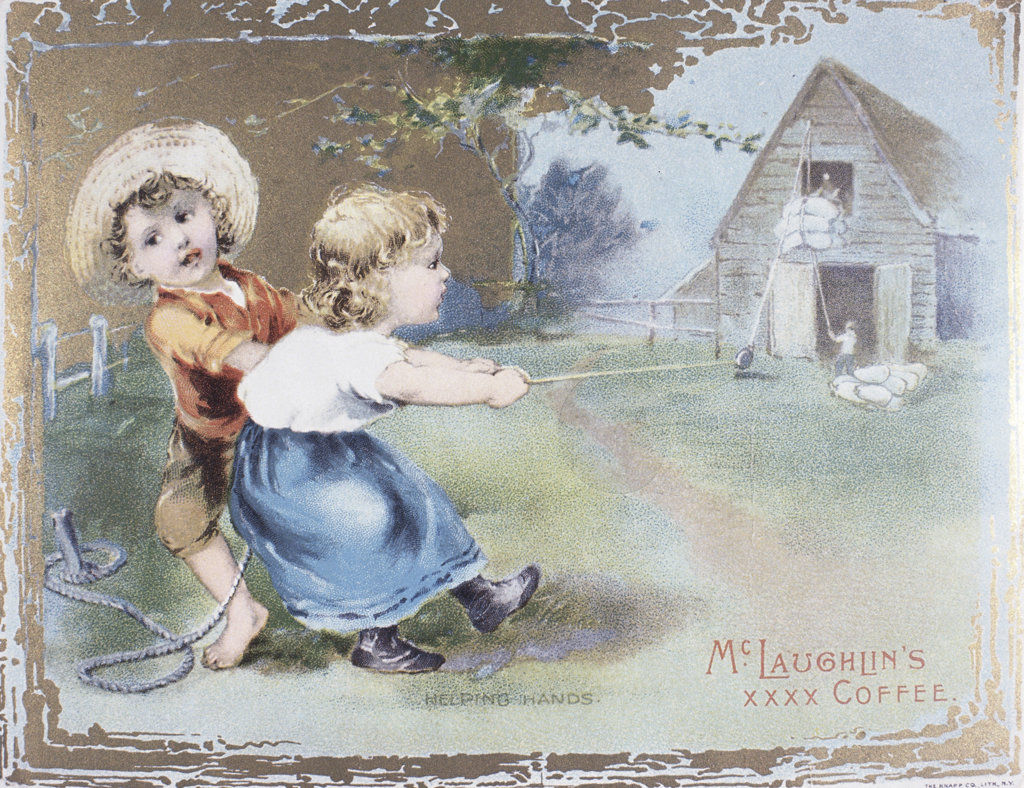 Stock Photo: 1095-605 Mclaughlin's Coffee-Helping Hands,  Chicago Trade Cards,  19th Century