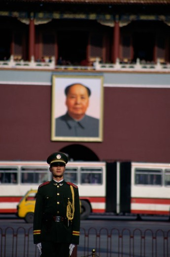 Soldier standing in front of a building, Tiananmen Square, Beijing, China : Stock Photo