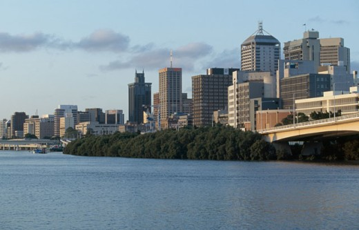 Stock Photo: 1096-1388B Buildings on the waterfront, Brisbane, Queensland, Australia