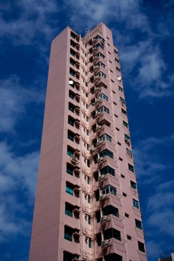 Stock Photo: 1096-159 Low angle view of a residential building, Hong Kong, China