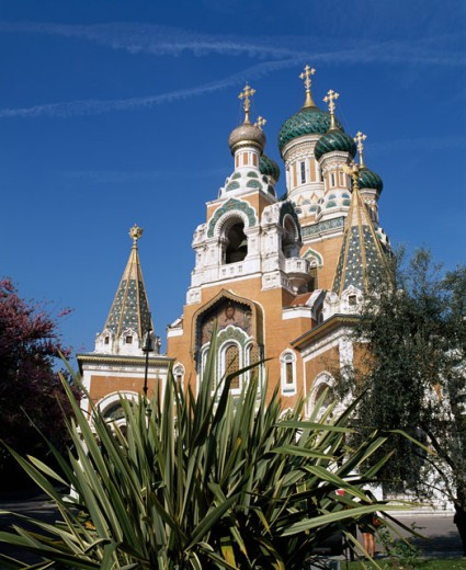 Low angle view of a cathedral, Russian Orthodox Cathedral, Nice, France : Stock Photo