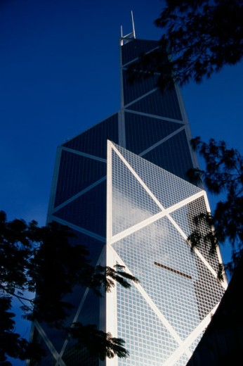 Stock Photo: 1096-180 Low angle view of a bank, Bank of China Tower, Hong Kong, China